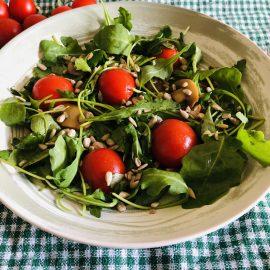 Arugula (Rocket), mushrooms and cherry tomatoes salad