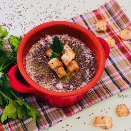 Creamy potato broccoli soup with chia seeds
