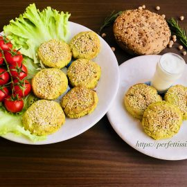 Baked chickpeas and peas burger