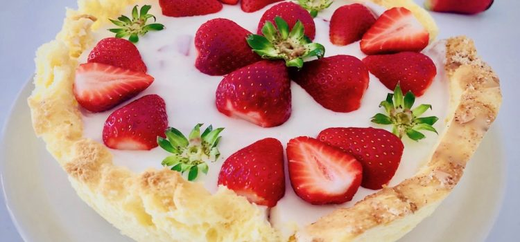 Easter bread cake with jelly cream and strawberry
