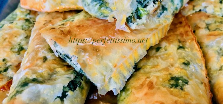 Spinach and ricotta phyllo pastry rolls